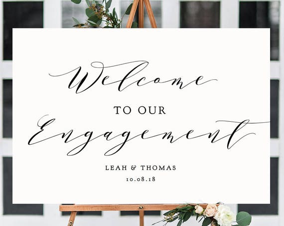 "Welcome Engagement Sign, Printable Welcome to Our Engagement Sign, ""Wedding"" Printable Sign 6 sizes included, Edit in ACROBAT"