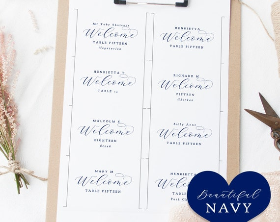 "Navy Flat Place Card Template, Printable Blue Place Cards Escort Cards, Navy Blue Wedding, ""Beautiful"" Edit in WORD or PAGES"