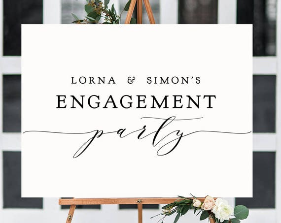 "Engagement Party Sign, DIY Printable Welcome to Engagement Sign, type your names, ""Wedding"" Printable Sign 18x24"" & 24x36"", Editable PDF"