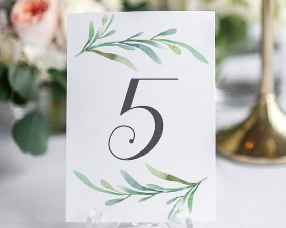 "Greenery and dark grey table numbers, printable numbers 1-50 in sizes 5x7"" and 4x6"" two per page printable table numbers, Download and Print"