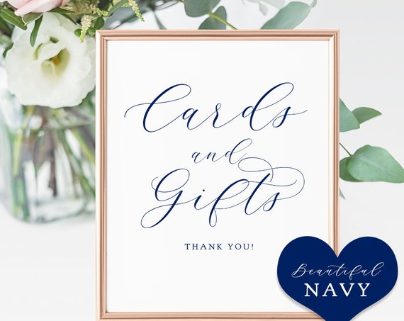 "Navy Cards and Gifts Sign, 5x7"", 8x10"" & 4x6"" Printable Cards and Gifts Wedding Sign ""Beautiful"" Download and Print."