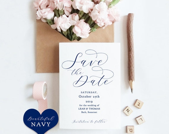 "Navy Save the Date Cards, Printable Template, Blue Save the Date Cards, Navy Blue Wedding, ""Beautiful"" Edit in WORD or PAGES"