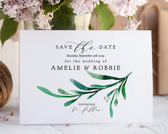 "Save the Date Greenery Card Printable Save the Date Template, Wedding printables, Greenery Wedding, 5x7"", ""Wedding Greenery"" Editable PDF"