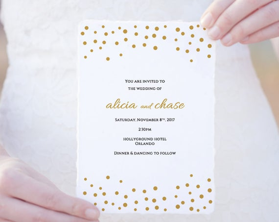 Wedding invitation template download, printable gold invitation card, wedding invites gold wedding, Orlando | Edit in WORD or PAGES