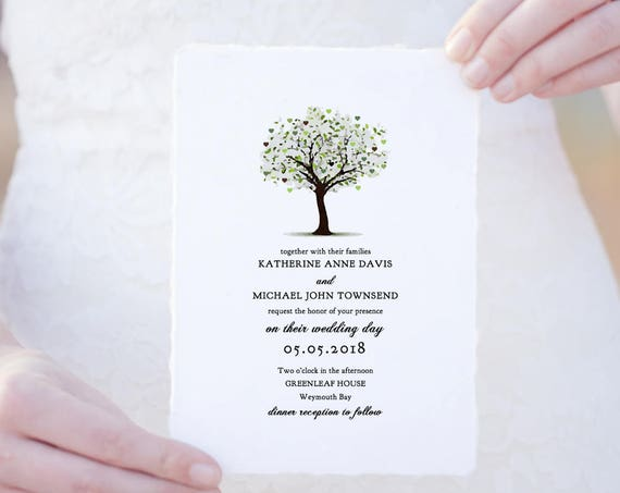 Tree Wedding invitations, rsvp, info, garden invitations. Editable template, 'Tree of Love'. Edit, print, trim | DIY wedding invitations