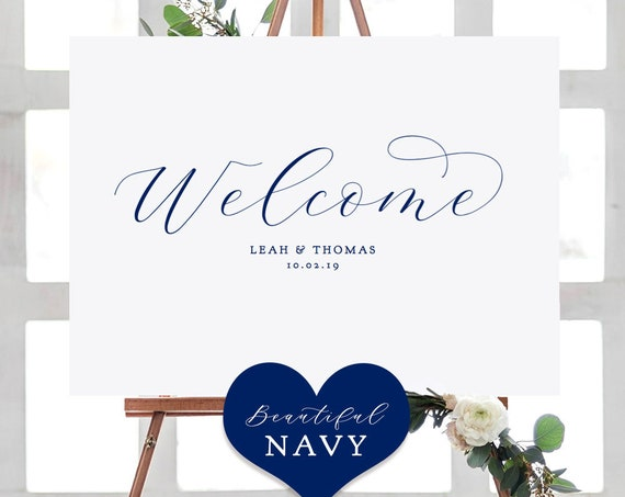 """Navy Blue Welcome Party Sign, Printable Welcome Wedding Sign, """"Beautiful"""" Printable Sign 4 sizes included, Edit in ACROBAT"""