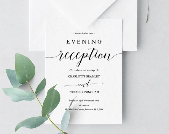 Reception Invitation, Evening Reception Invitations, DIY Printable Reception invitations, 'Mr. Right', Editable PDF