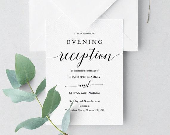 Reception Invitation, Evening Reception Invitations, DIY Printable Reception invitations, 'Mr. Right', Edit in ACROBAT
