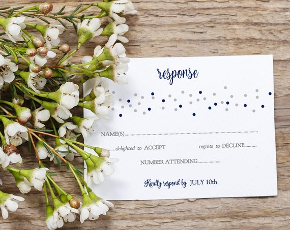Wedding Rsvp and Details card printable templates, Confetti style, Navy + Silver or ANY colours, Dotty Shimmer | Edit in WORD or PAGES
