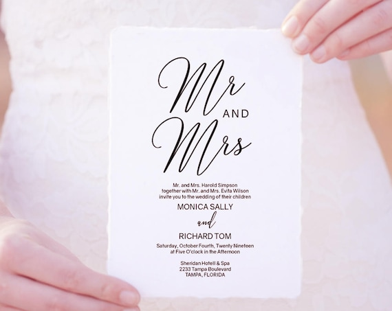 "Mr and Mrs Printable Wedding Invitation, Wedding Invitation Template, 'Lovely', 5x7"" invitation, Editable PDF"