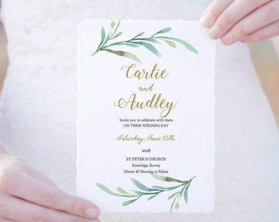 Greenery Wedding Invitation Template | Garden Invitation, Printable Wedding Invitation Template Greenery | Edit in WORD or PAGES