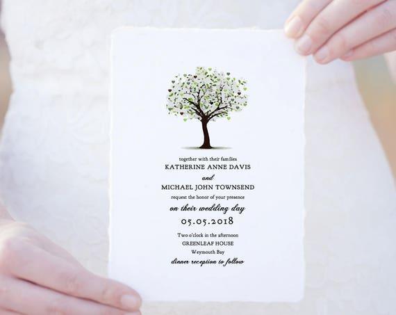 Tree Wedding invitations, garden invitations. Editable template, 'Tree of Love'. Edit, print, trim | DIY wedding invitations