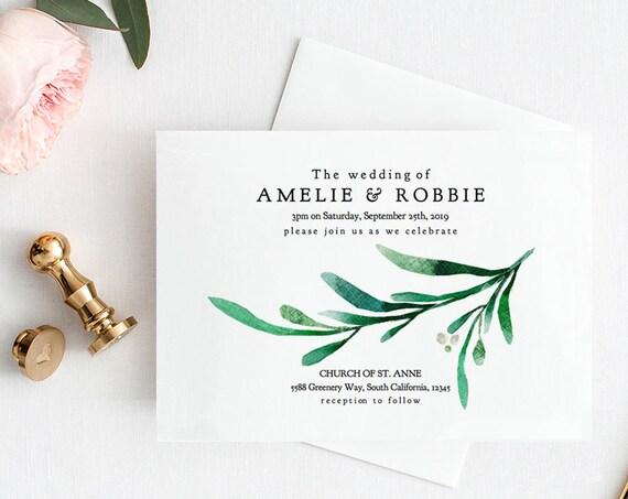 "Greenery Wedding Invitation Printable Template, Printable Greenery Wedding Invitations ""Wedding Greenery"" Editable PDF"
