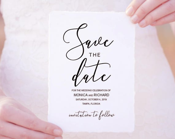"Save the Date Printable Template, Wedding Save the Date Template, 'Lovely', 5x7"" Save the Date, Editable PDF"