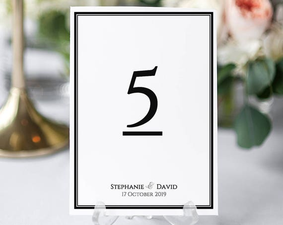 Border Table Numbers Printable Template Smart Wedding Numbers with a border, Piccadilly. DIY printable numbers, edit in WORD or PAGES