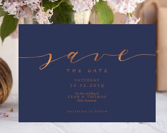 "Save the Date Navy and Gold Foil Effect ""Metallic Wedding"". Navy, Copper. 5x7"" Printable Wedding Save the Date Template. Editable PDF"