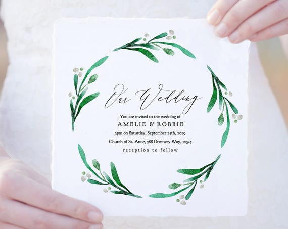 "Square Greenery Wedding Invitation Printable Template, Greenery Wedding Square Invitations 5.25"" & 6.25"" ""Wedding Greenery"" Editable PDF"