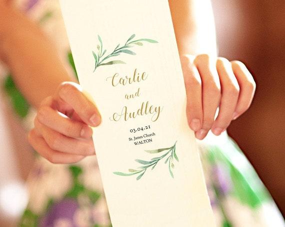 Greenery Bi-fold Wedding Program Template, Corjl Wedding Program, Long Folded Order of Service 'Greenery', FREE Demo, Try before you buy!