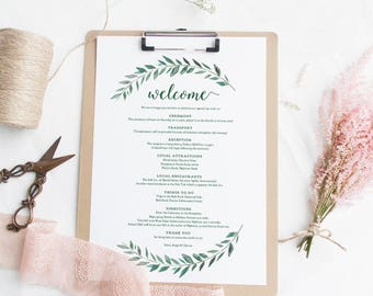 green welcome itinerary wedding guest welcome letter template emerald green gardens printable wedding welcome letter edit in word or pages