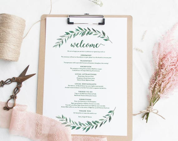 Green welcome Itinerary Wedding Guest Welcome letter template emerald 'Green Gardens' printable wedding welcome letter Edit in WORD or PAGES