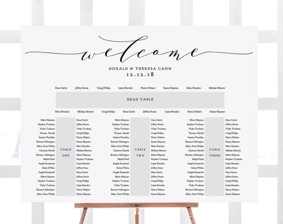 "Banquet Seating Chart 3 tables and top table, printable E shape table plan, ""Wedding"" 18x24"" 24x36"", A1, A2 sizes included, Editable PDF"