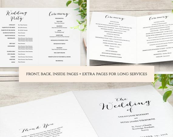 Booklet Wedding Program template, Church Order of Service printable templates. Multiple page booklet. Sweet Bomb. Edit in WORD or PAGES