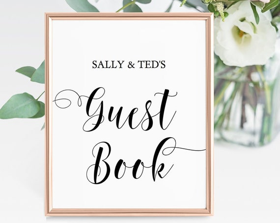 "Guest Book Sign, 8x10"" Printable Guest Book Template Sign, Instantly Download and Customise, 'Mr. & Mrs.' Editable PDF"