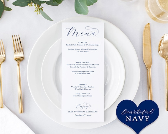 "Navy Menu, Printable Menu Template, 4x9"", Navy Blue Wedding ""Beautiful"" Edit in WORD or PAGES"