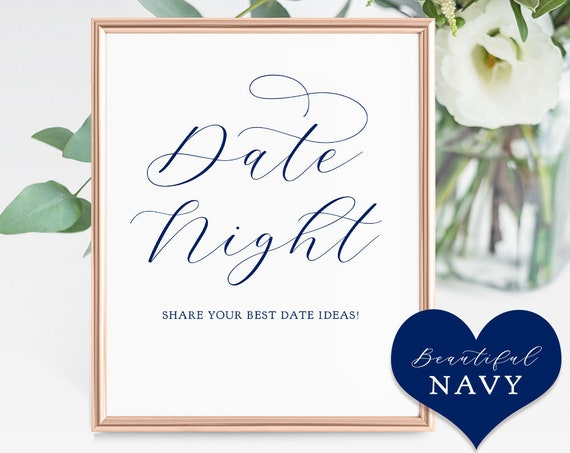 "Navy Blue Date Night Sign, 8x10"" Printable Date Night Ideas Wedding Sign ""Beautiful"" Download and Print."
