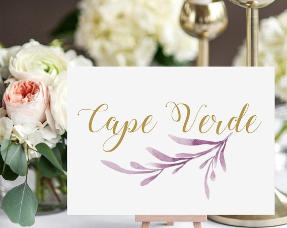 "Lilac Wedding Table Names Template, Printable Reception Table Name. 5x7"", 4x6"" & 3.5x5"", DIY Table Cards, Corjl Template, FREE Demo"
