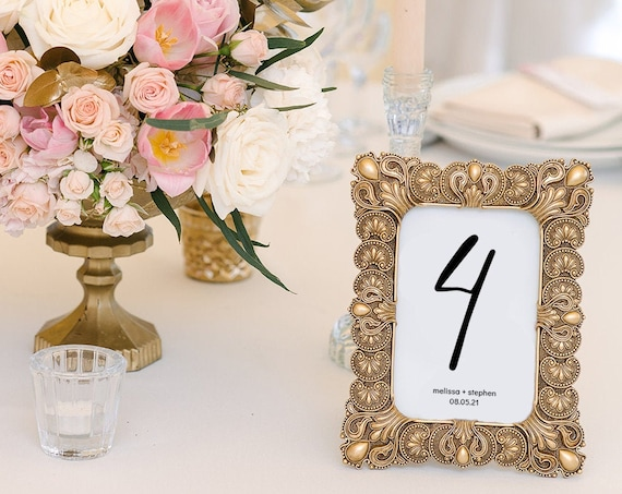 "Modern - Small Table Numbers, Printable Table Numbers in 3 Sizes, 2x3"", 3x3"" & 3x4"", Modern Minimalist Wedding, Corjl Templates, FREE Demo"