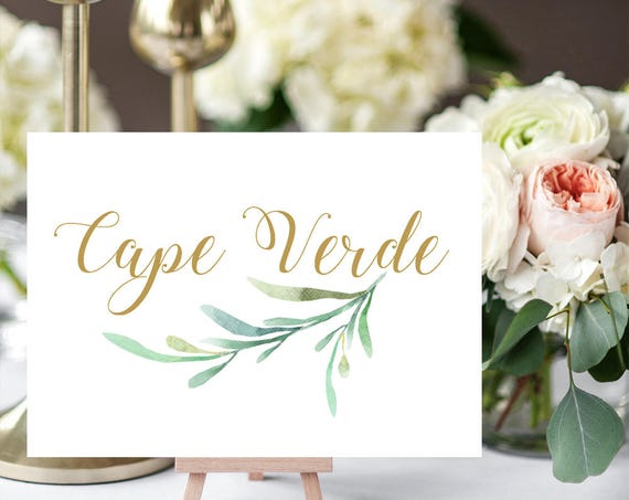 "Greenery Wedding Table Names Template, Printable Reception Table Name. 5x7"" and 4x6"" DIY Table Cards, Edit in WORD or PAGES"