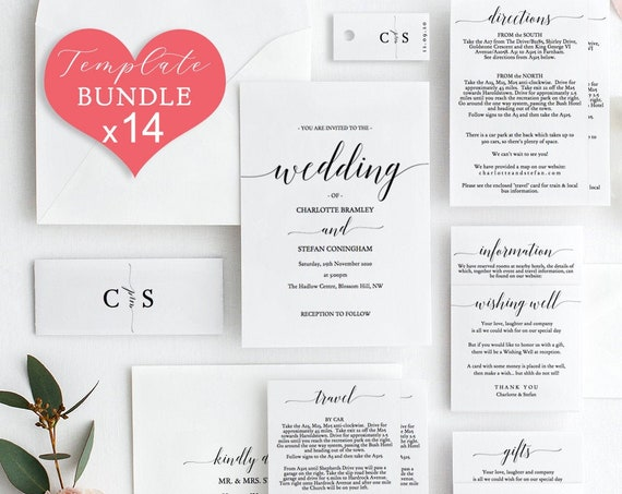 DIY BUNDLE ~ 14x Printables Wedding Invitation Suite, 14 printable templates included! 'Mr. Right', Editable PDF
