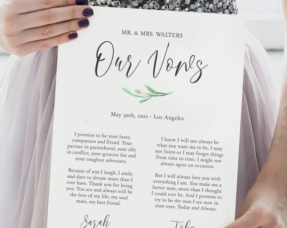 Anniversary Gift, Wedding Vows, Our Vows Keepsake, 1st Year Anniversary, Editable Printable Template, FREE Demo Try B4 You Buy Corjl 'Angie'