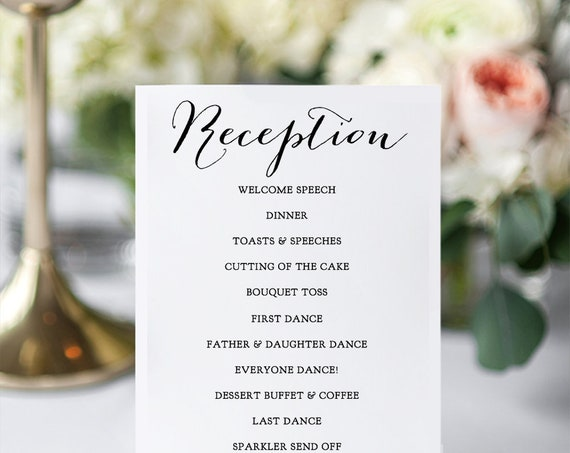 Reception Program, Printable DIY Wedding Reception Card in 6 sizes, 'Sweet Bomb', Edit in WORD or PAGES