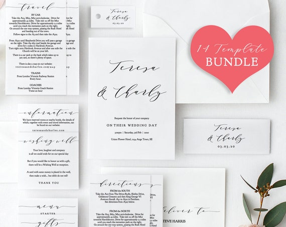 DIY BUNDLE ~ 14x Printables Wedding Invitation Suite, 14 printable templates included for the price of 3!, 'Wedding', Editable PDF