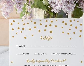 Gold Confetti RSVP card template, Wedding printable RSVP card, wedding response card, gold wedding, Orlando | Editable printable template