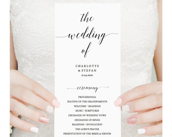 Long Wedding Program Printable Template, Flat programs, instantly download, customise and print, 'Mr. Right' Editable PDF