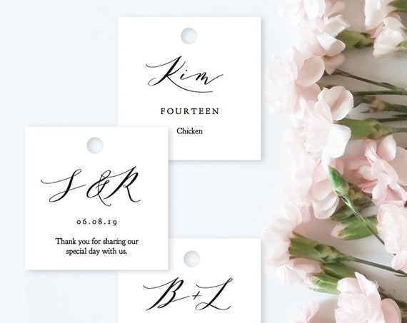 "Initial Tags 2x2"" Square DIY Favor Tags, Printable Square Name Tag Template 2x2"", Wedding Favour Tags ""Wedding"", Corjl Template, FREE Demo"