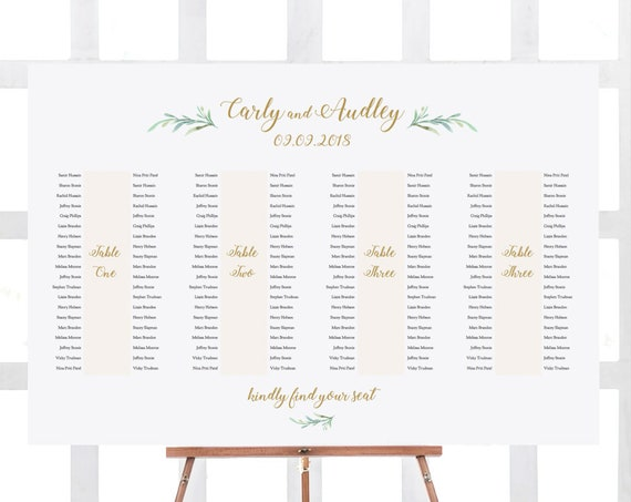 "Banquet Table Seating Plan 4 Long Tables, Printable Banquet Table Plan ""Greenery"" 24x36"" and A1 sizes included Editable PDF"