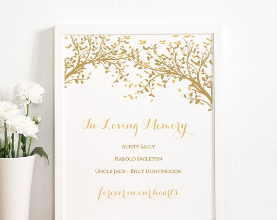 "Printable In Loving Memory Sign, Tree Sign, 8x10"", Wedding signage, Leaves, Edit in WORD or PAGES"