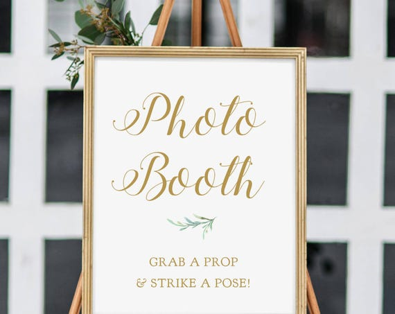 "Large Photo Booth Sign Printable Photo Booth Grab a Prop and Strike a Pose! Sign, Wedding Signage, 18x24"". ""Greenery"" Download and Print"