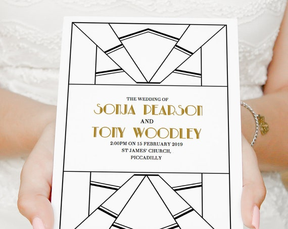Art Deco Wedding Program printable Order of Service template, folded wedding program Art Deco style. Editable PDF