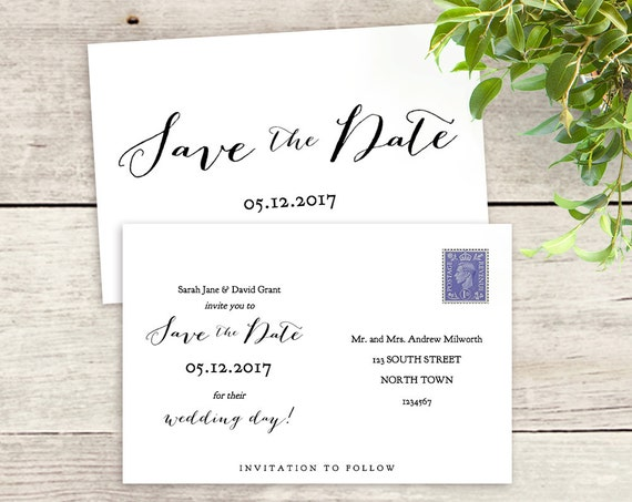 "Postcard Save the Date template, 6x4, printable Save the Date 5x7 and 5x3.5 templates ""Sweet Bomb"" 3 styles included Edit in WORD or PAGES"