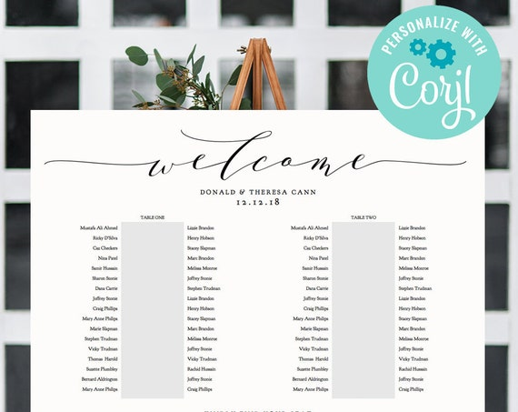 """2 Banquet Table Seating Plan Template, Corjl Template, 2 Long Tables, """"Wedding"""", 18x24"""" 24x36"""", A1, A2 sizes included"""