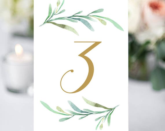 "Greenery wedding table numbers printable numbers in gold 1-50 in sizes 5x7"" and 4x6"", two per page printable table numbers, Download Print"