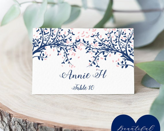 Navy & Pink Tree Name Place Cards, Table Place Cards, Leaves, Flat and Folded, Editable PDF