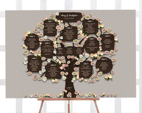 "12 & 15 Table Tree Seating Plan Template, up to 15 tables, 24x36"" and A1 sizes, Wedding Tree, Editable PDF"
