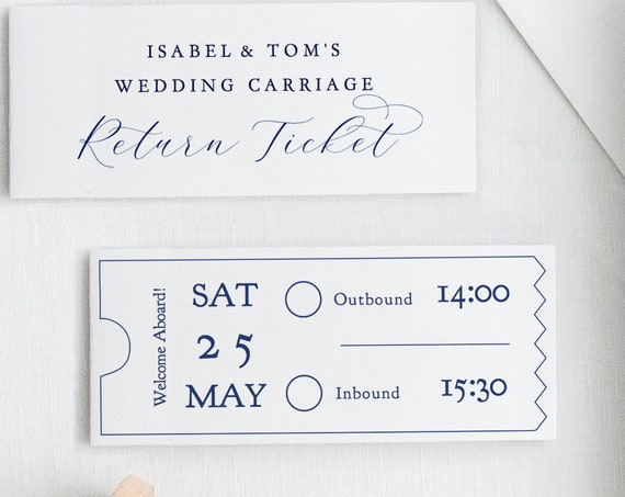 "Return Ticket, Printable Bus Coach Ticket, Wedding Carriage Ticket in Navy Blue, 18 per page, approx 3x1.25"", ""Beautiful"" Editable PDF"