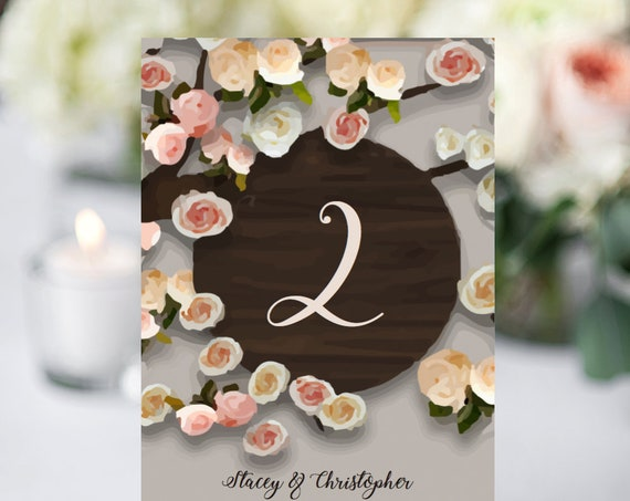Table Numbers, Wood Tree and Flowers design, Customisable Printable Numbers, DIY Numbers, Wedding Tree, Editable PDF